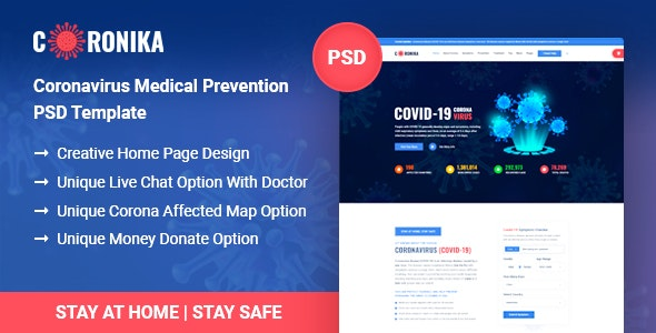 Coronika - Coronavirus Medical Prevention & Awareness PSD Template