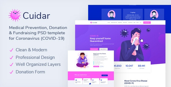 Cuidar - Coronavirus Medical Prevention, Donation & Fundraising PSD Template