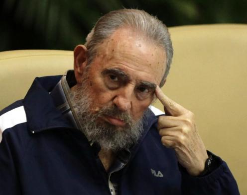 Former Cuban leader Fidel Castro attends the closing ceremony of the sixth Cuban Communist Party (PCC) congress in Havana