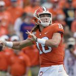 Trevor Lawrence playing for Clemson Tigers
