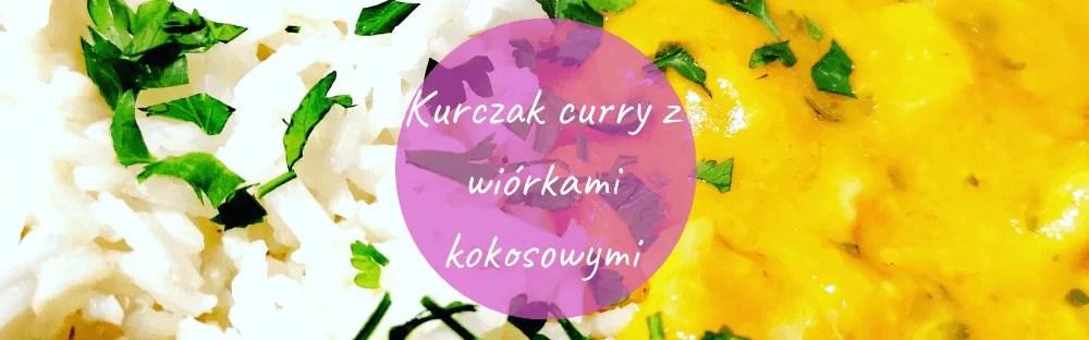 Kurczak curry z wiórkami kokosowymi i ryżem baner