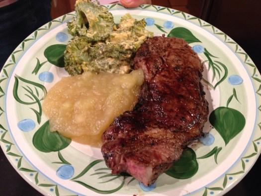 Pasture raised, non GMO pork chops, home made apple sauce, and broccoli.