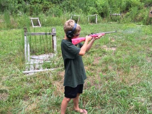 Spork shooting a 22 rifle
