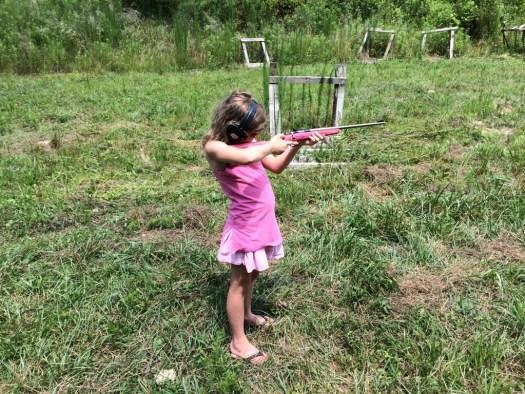 The Princess shooting a 22 rifle