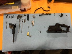 Browning Citori, completely disassembled.