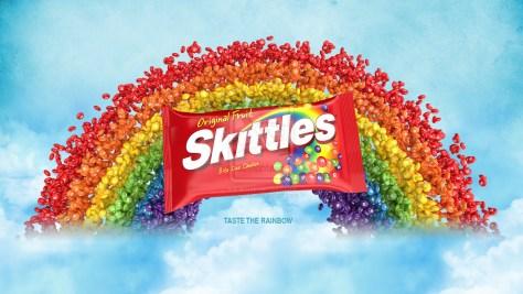 Skittles bag and rainbow