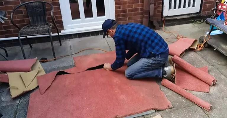 Cut Carpet Padding and Artificial Turf