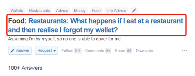 Question asked in quora
