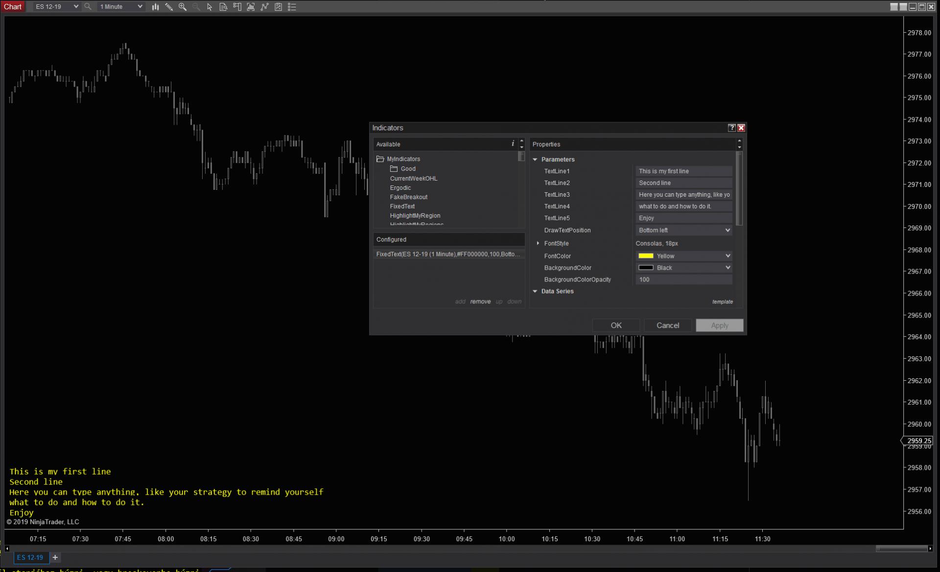 FixedText indicator