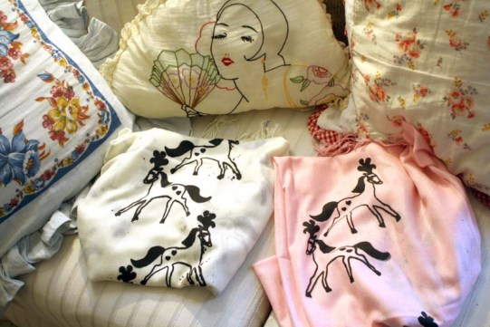 Hand screen printed scarves featuring my pony drawings