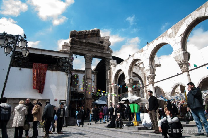 The remains of the Temple of Jupiter, at the edge of Umayyad Mosque