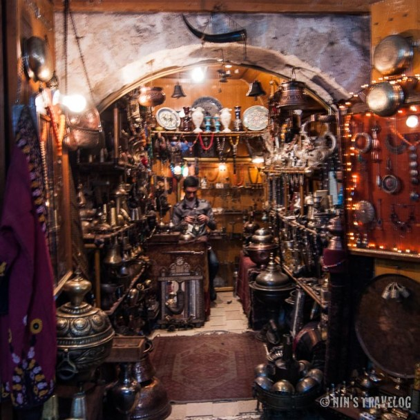 Antique shop specialising of copper ware from the medieval era