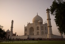 The famous Taj Mahal during a hazy sunset