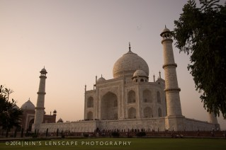 The famous Taj Mahal during a hazy sunset