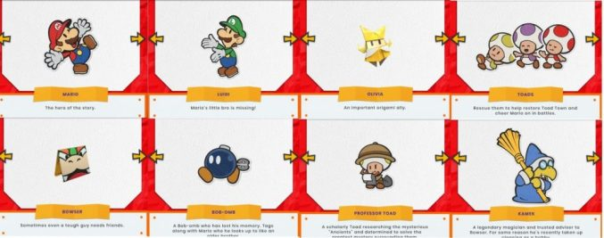 Paper Mario: The Origami King caracters