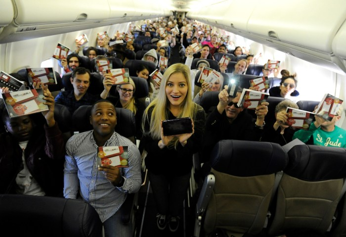 Nintendo surprises passengers on a Southwest Airlines flight from Dallas Love Field to Los Angeles International Airport on Wednesday, Dec. 14, 2016. (Carlos Delgado/AP Images for Nintendo of America)