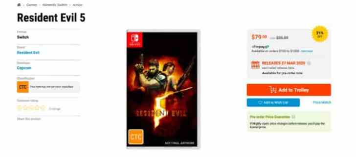 RESIDENT EVIL 5 AND RESIDENT EVIL 6 APPEAR TO BE RECEIVING SEPARATE SWITCH PHYSICAL RELEASES IN AUSTRALIA 2