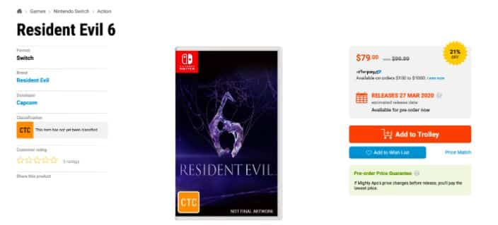 RESIDENT EVIL 5 AND RESIDENT EVIL 6 APPEAR TO BE RECEIVING SEPARATE SWITCH PHYSICAL RELEASES IN AUSTRALIA 3
