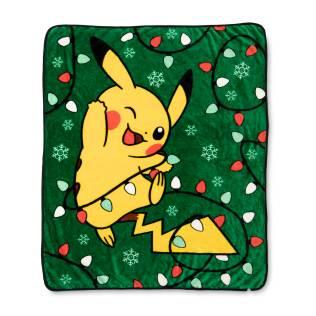 Pikachu Holiday Tangled Light Pikachu Fleece Throw - Product
