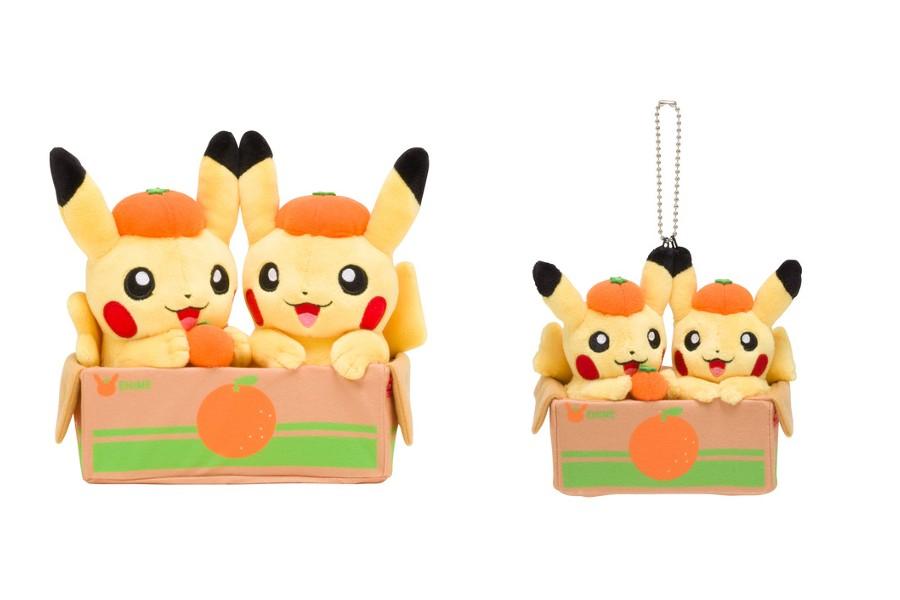 Pokemon Center Original Plush doll Pair Pikachu and Ehime Mandarin orange