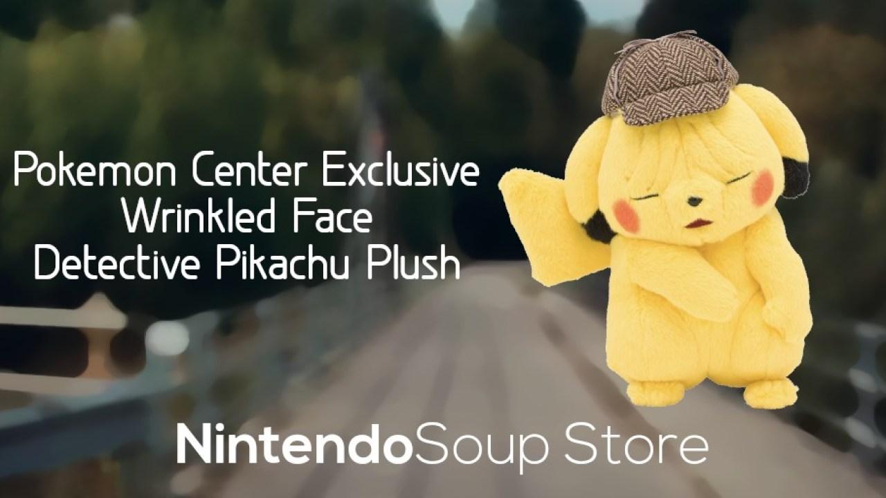 Rare Pokemon Center Wrinkled Face Detective Pikachu Plush Up For