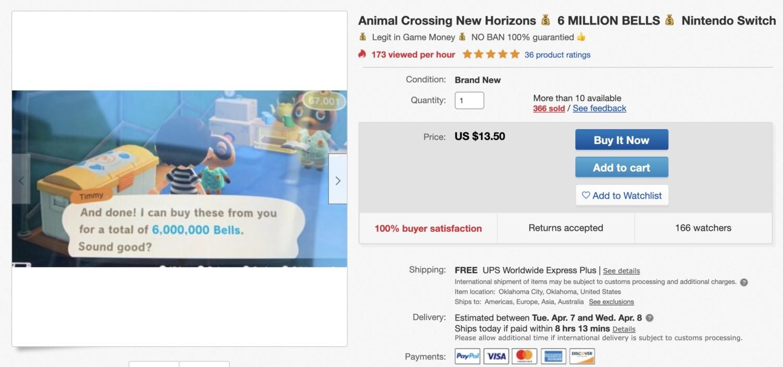 Ebay Seller Makes Thousands Of Dollars Selling Bells In Animal Crossing New Horizons Nintendosoup