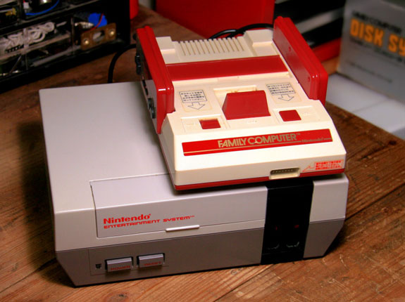 Compared to the U.S. NES, the Japanese Famicom is slim and more toy-like.