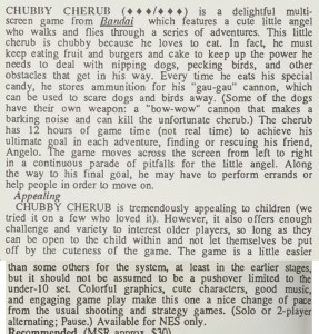 Chubby Cherub Review - Computer Entertainer - Dec 1986 pg 12