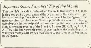Gradius Continue Code - Computer Entertainer - June 1987 - pg11