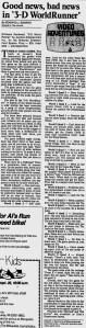 3-D WorldRunner - Ed Semrad - Milwaukee Journal - 9-12-87