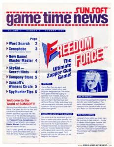 Sunsoft Game Time News   Summer 1988 - Pg 1