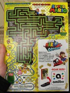 Back of Super Mario Cereal Box