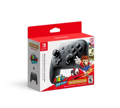 Pro Controller with Super Mario Odyssey Download Code