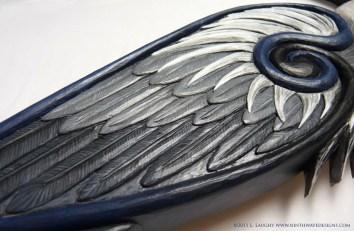 Detail of Great Blue Heron carving.