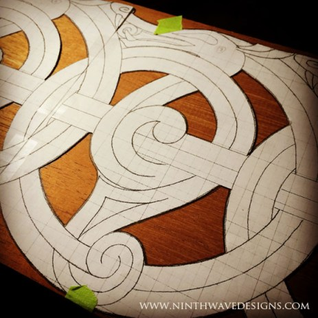 Laying out the pattern on the beautiful piece of Spanish cedar wood.