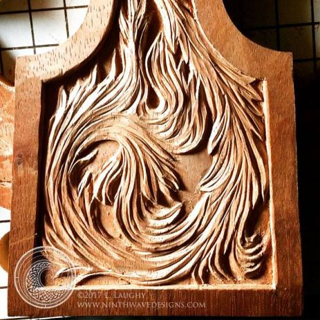 The fire element is carved.