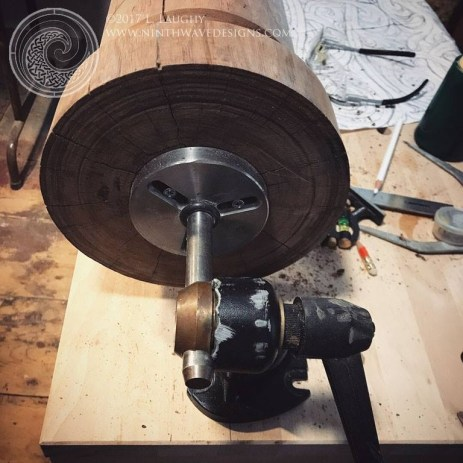 Using a Veritas carving vise to set up the column - rotisserie style.