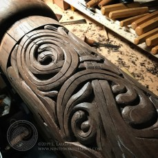 Progress on carving the swirls of the leaf patterns.