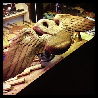 Both wings are essentially done - moving on to the center of the carving now.