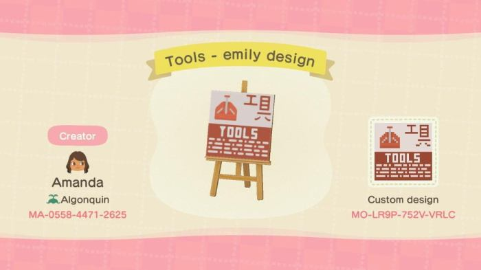 Animal Crossing signs tools