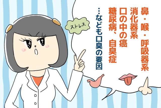 鼻・喉・呼吸器系・消化器系・口の中の癌・糖尿病・自臭症なども口臭の原因