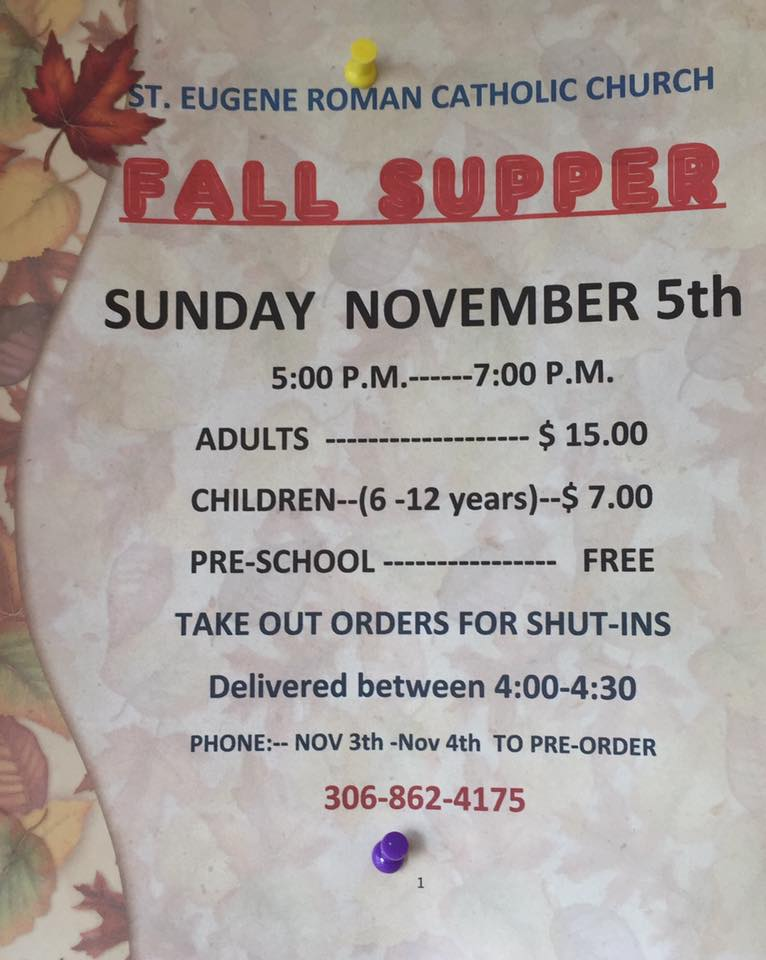 Fall Supper - St. Eugene Roman Catholic Church Nipawin