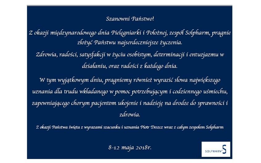 Życzenia z okazji międzynarodowego dnia Pielęgniarki i Położnej – Solpharm