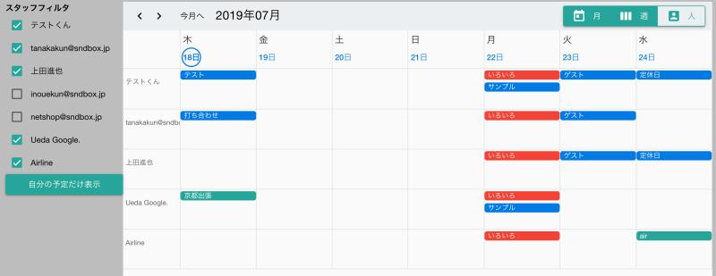 スタッフ毎の週間カレンダー
