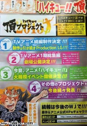 Actu Ciné, Cinéma, Haikyu, Haikyu!! Itadaki Project 2015, Production IG, Haruichi Furudate,