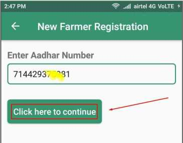 For New Kisan Registration Enter your aadhar number and Click on Button