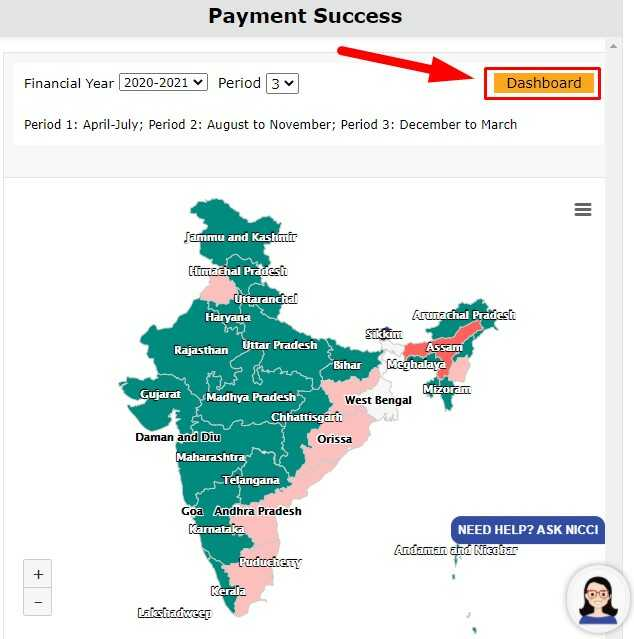 Dashboard And India Map on PM Kisan Official Website