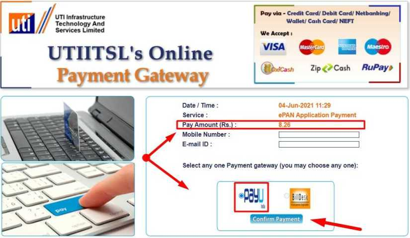 Payment Page for UTI PAN Download. Pay 8 Rupees and 26 Paisa for Download PAN Card from UTITSL Website