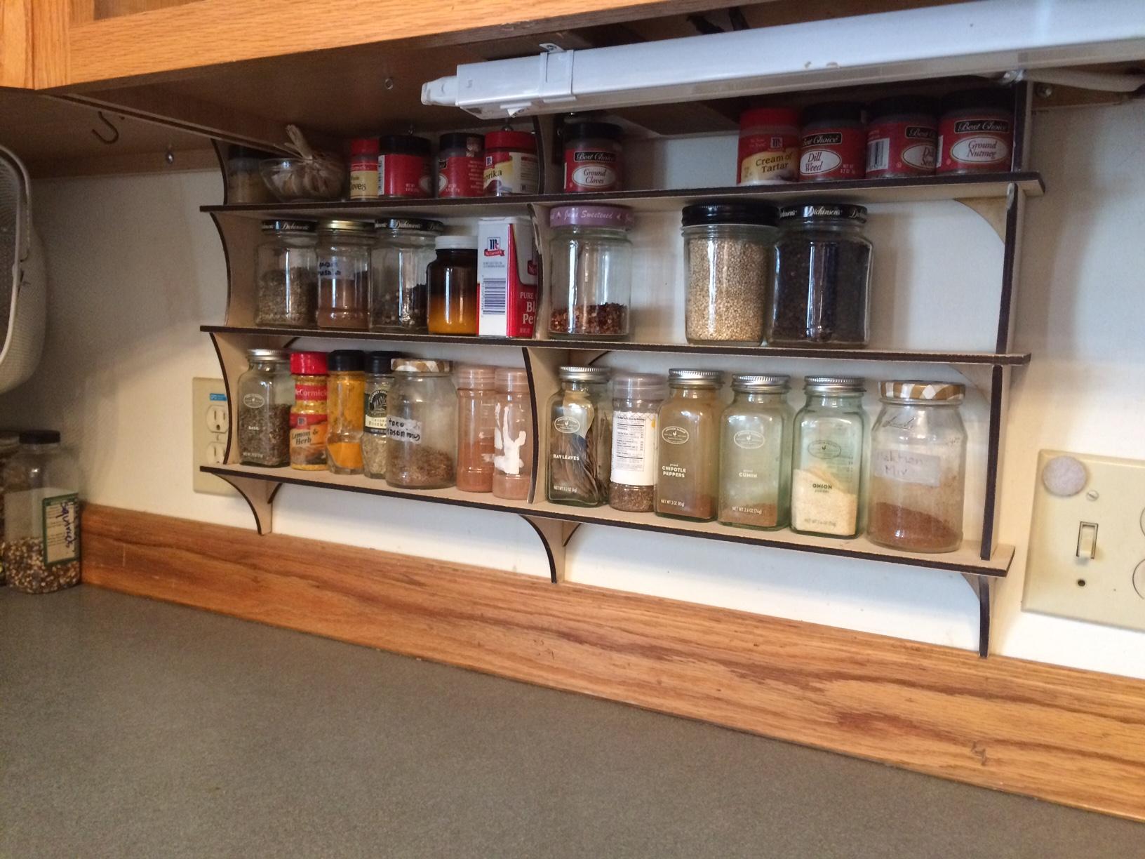 2 3 shelf 3 support & DIY Laser Cut Under Cabinet Shelves (spice rack tea shelf) u2013 nirak.net