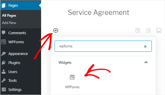 Add WP Forms Block to block page
